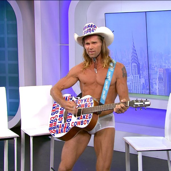 The Naked Cowboy is shown