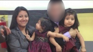 Wife and two daughters of Miguel Mejia-Ramos, 29, pictured with an unidentified man.