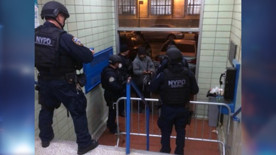 In an exclusive picture given to PIX11, emergency officers assemble at the 81st Precinct. (Mary Murphy)