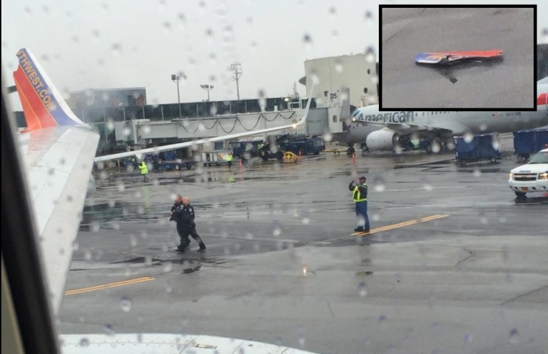 The wing of a Southwest Airline was clipped. (Photo by Christiana Peppard)