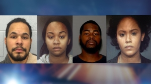 From left to right: Robert Martinez, Courtney Evelyn, Dyrol Evelyn and Diana Escotto were arrested in connection to Johnson's death. (Photo: Bergen County Prosecutor's Office)