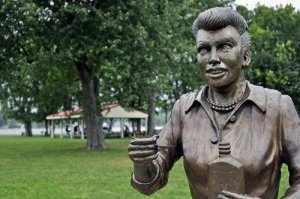 Residents of an upstate New York town really want this scary-looking statue of Lucille Ball to be removed. (Facebook)
