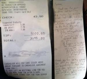 The whopping 6800% tip was left with a detailed note written on the back. (ReesSpechtLife.com)