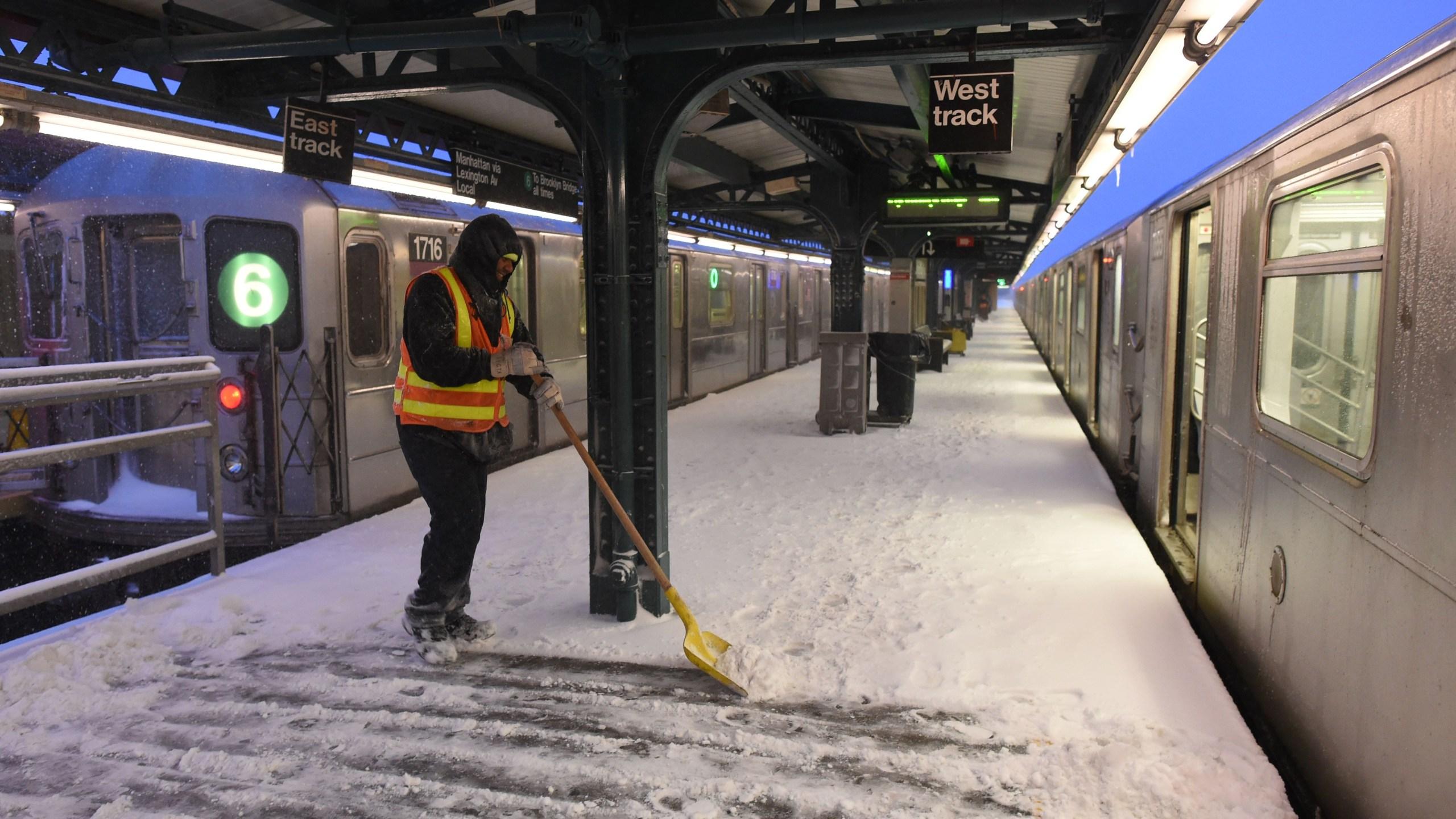 Snow on subway station platform