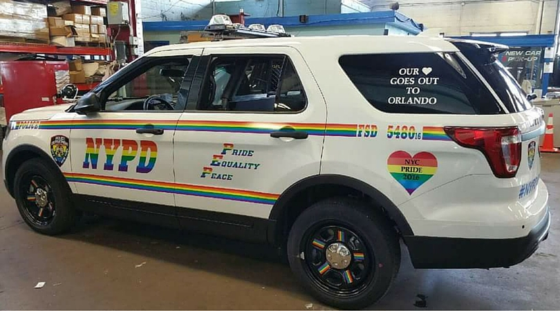 Rainbow LGBTQ themed NYPD SUV for Pride March