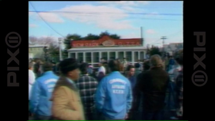 Protests outside New Park Pizza (WPIX file image, 1986)