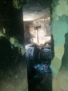 Damage from a Bronx apartment fire that broke out on Dec. 14, 2016, is pictured. (Nicole Johnson/ PIX11)