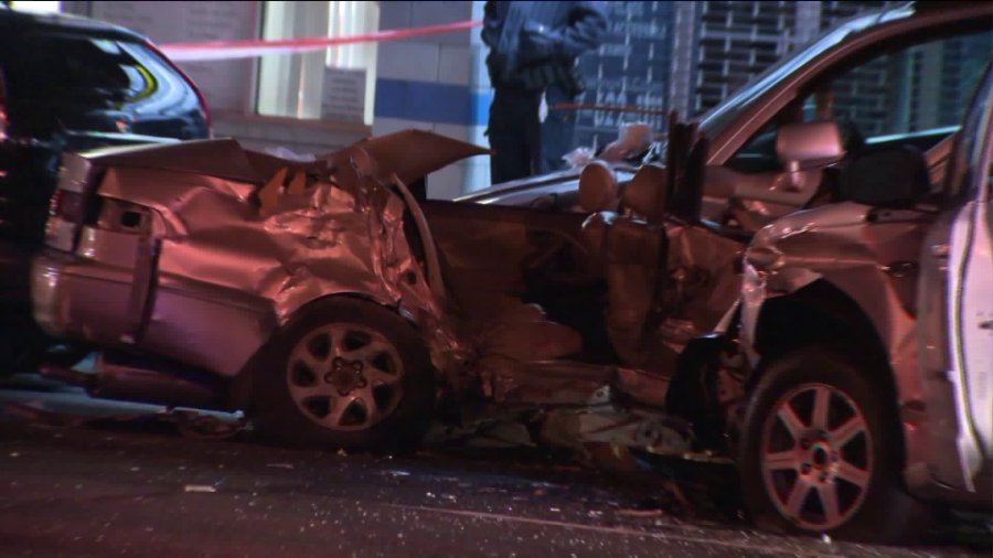 The mangled wreckage of a deadly multivehicle crash in the Bronx on Jan. 5, 2017, is pictured. (PIX11)