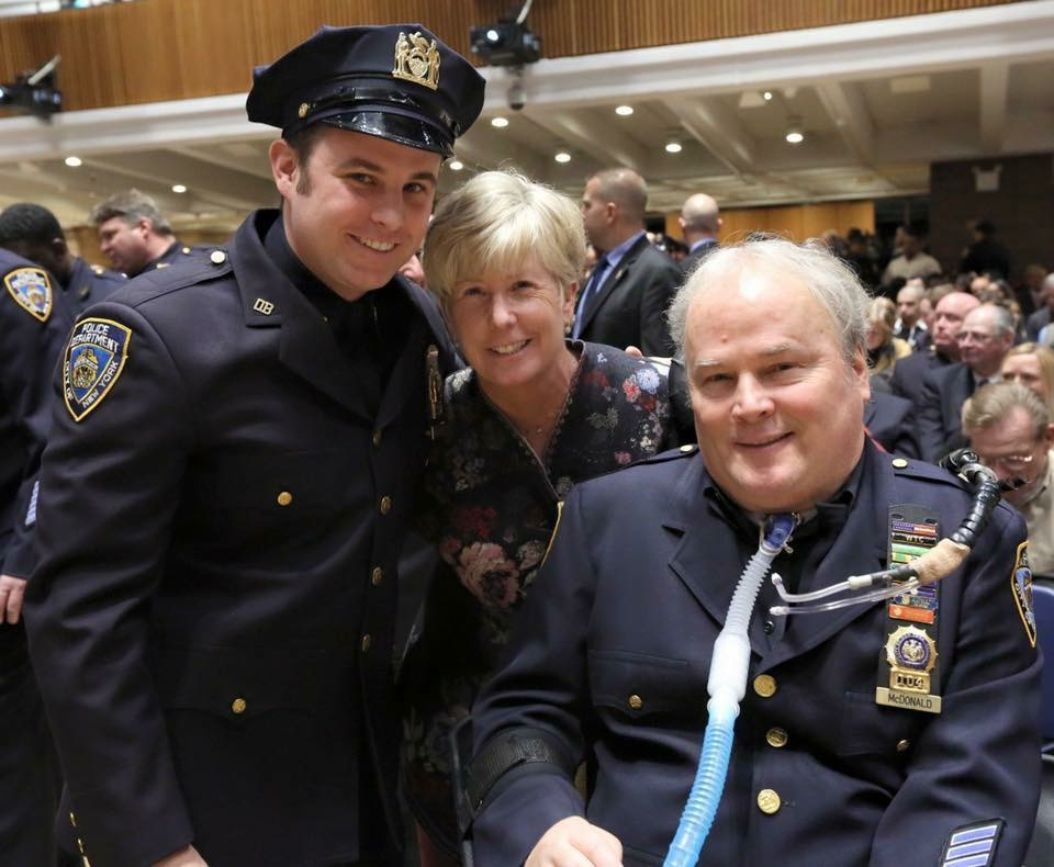 NYPD Det. Steven McDonald with his son, Conor, and his wife Patricia Ann. She was pregnant with their son in July 1986 when McDonald was shot.