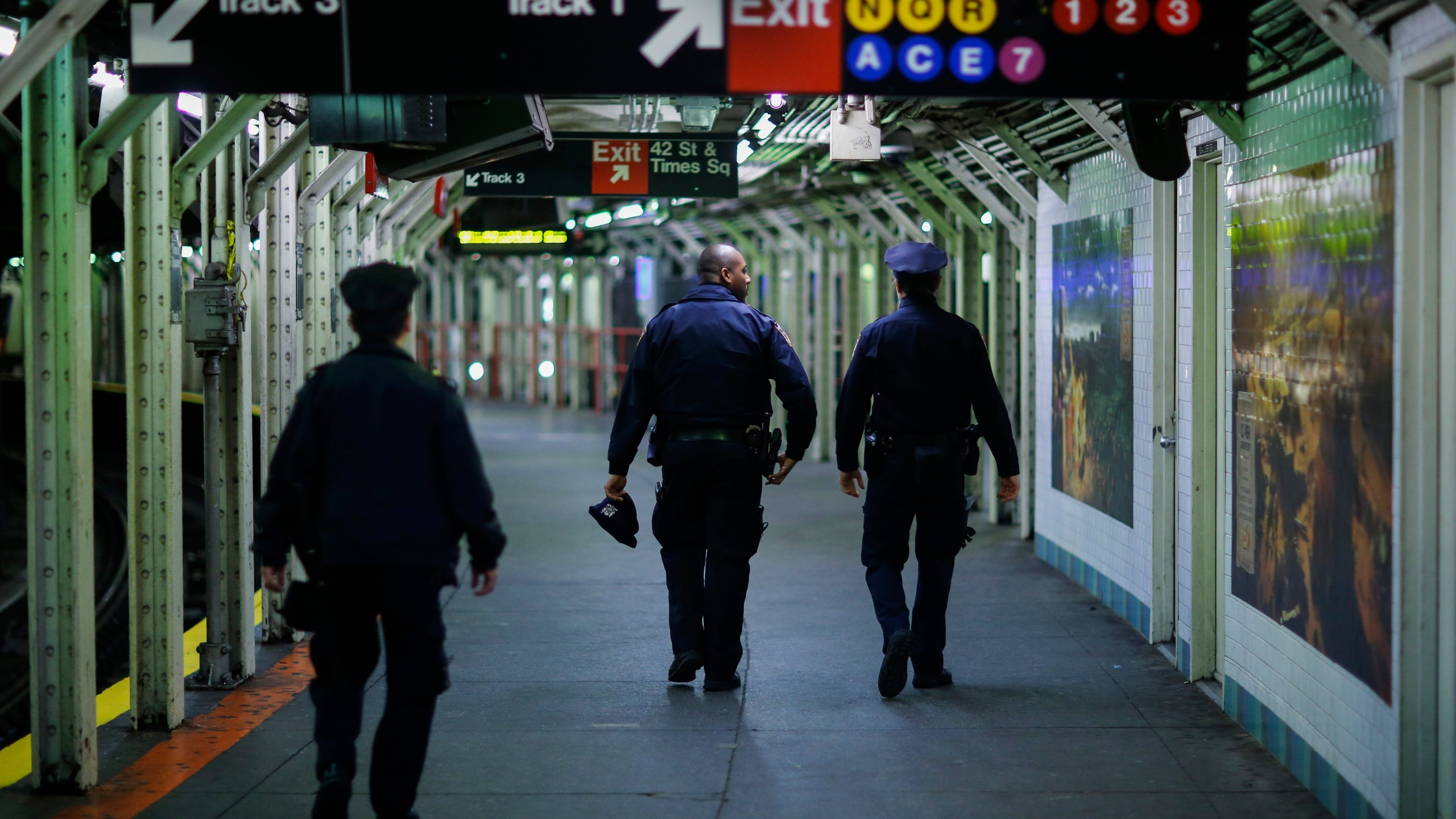 Police in Times Square subway station