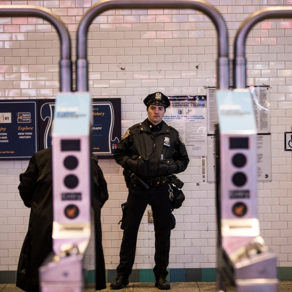 NYPD officers in NYC subway station