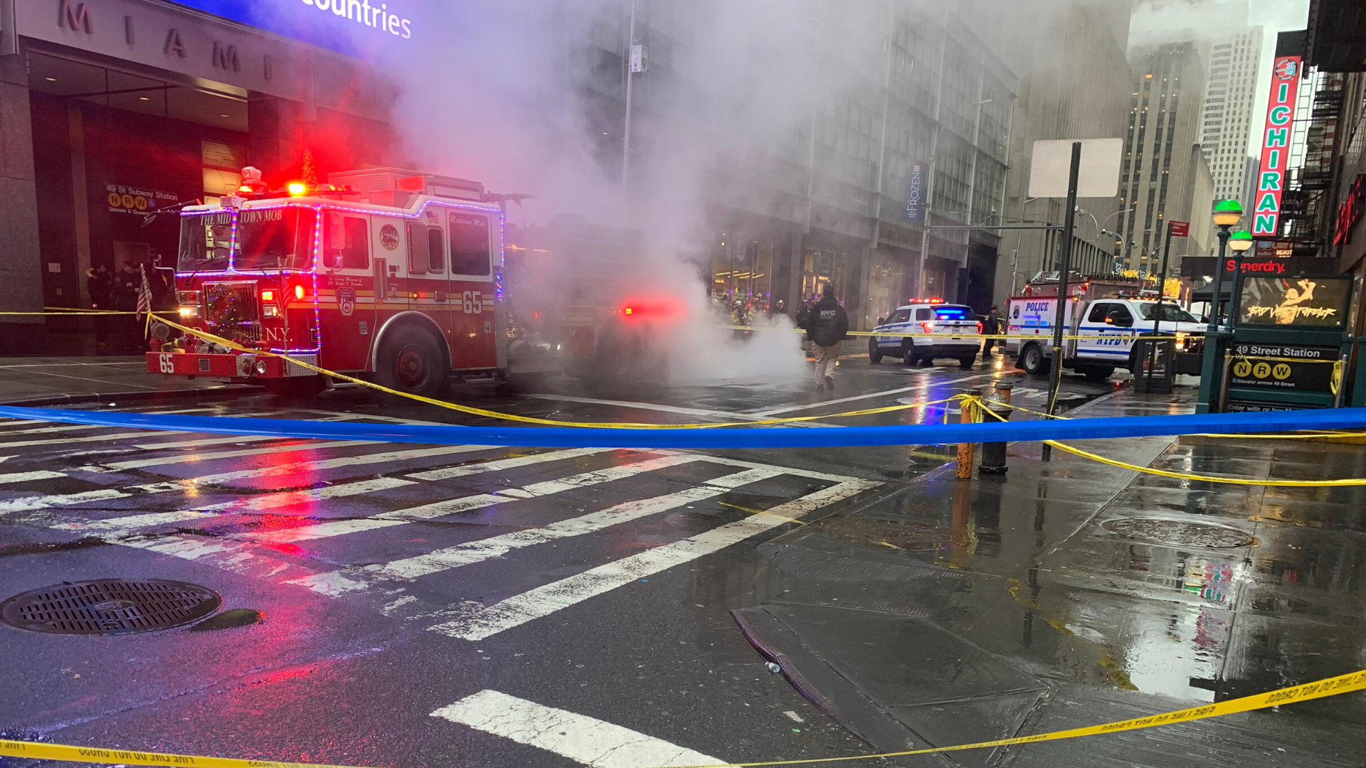 Woman killed, hit by debris near Times Square