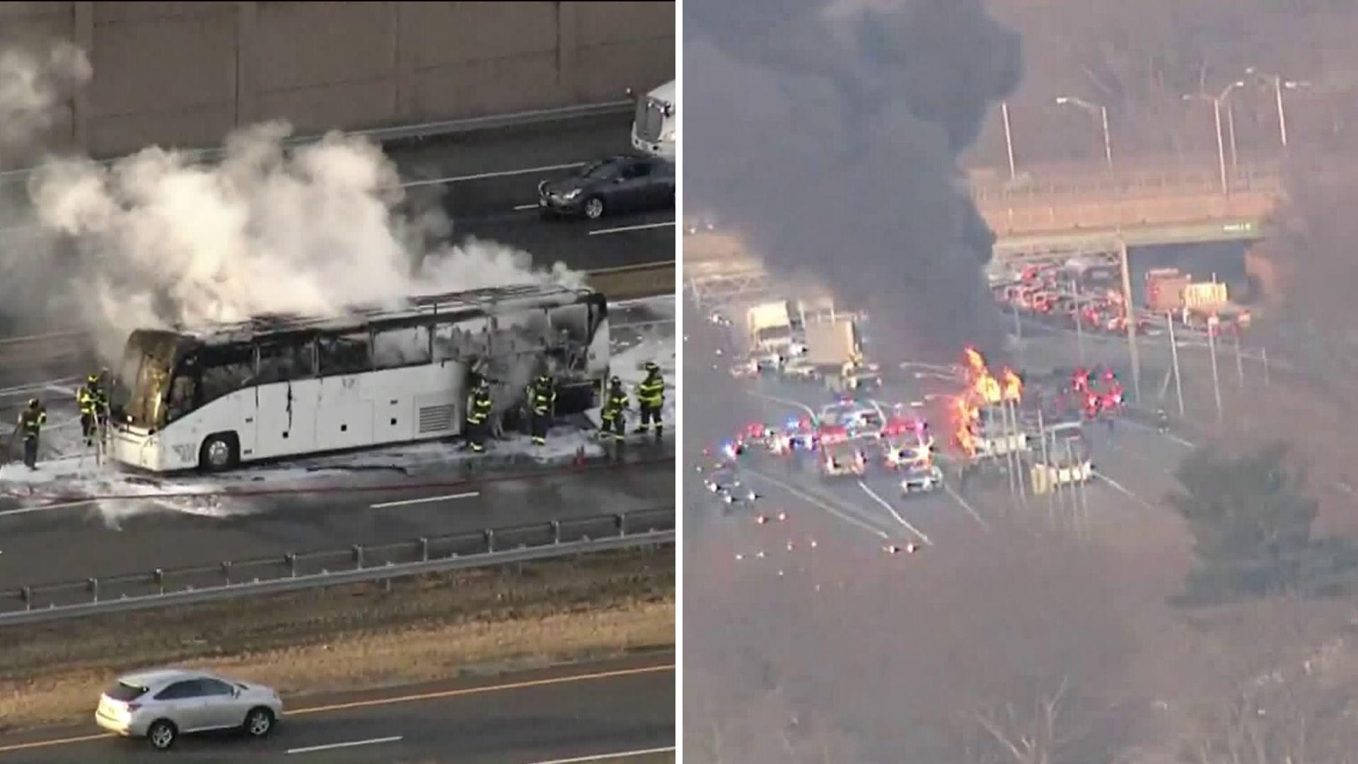 bus fire in union nj