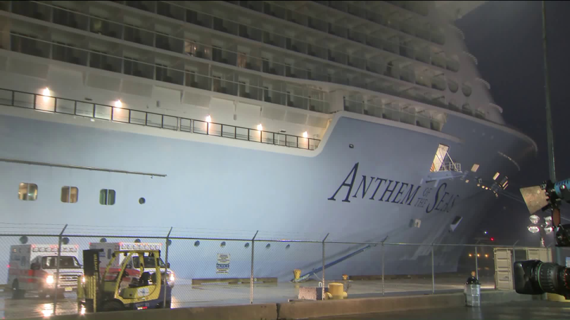 Royal Caribbean cruise ship docks in Bayonne, New Jersey amid coronavirus fears