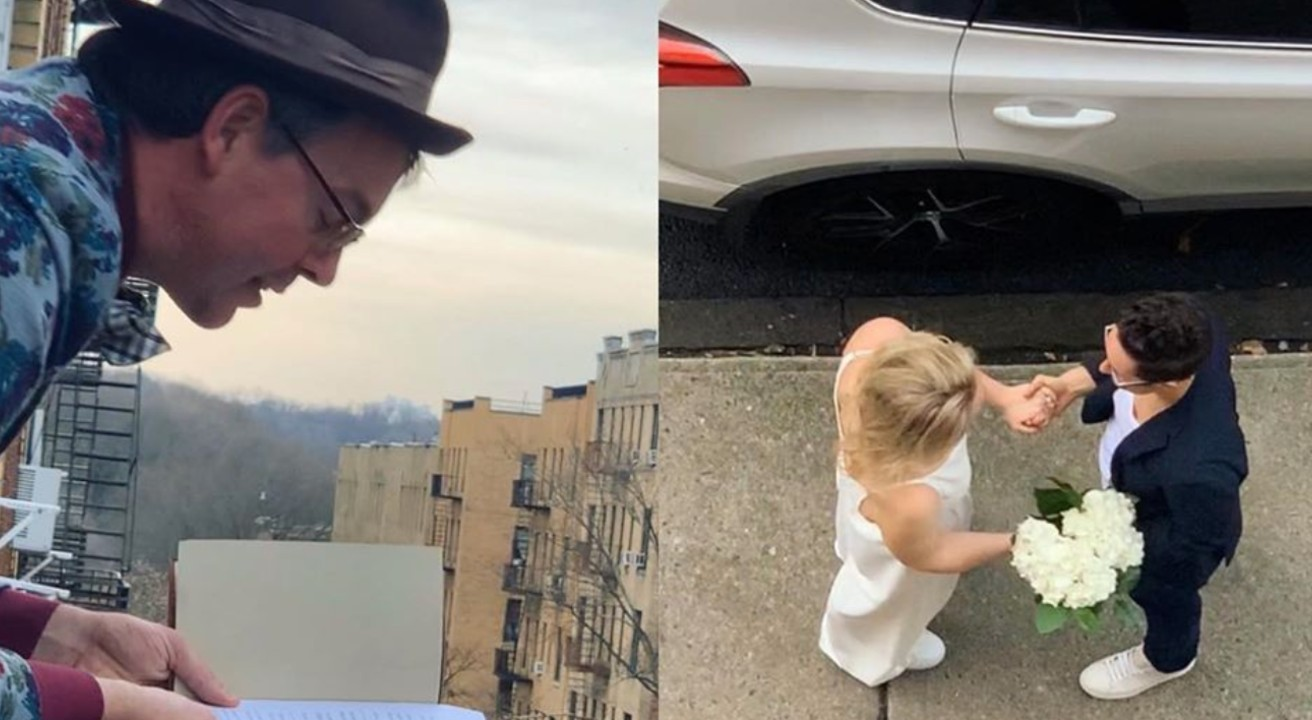 Amid pandemic, NYC couple gets married on sidewalk with friend officiating from 4th floor window