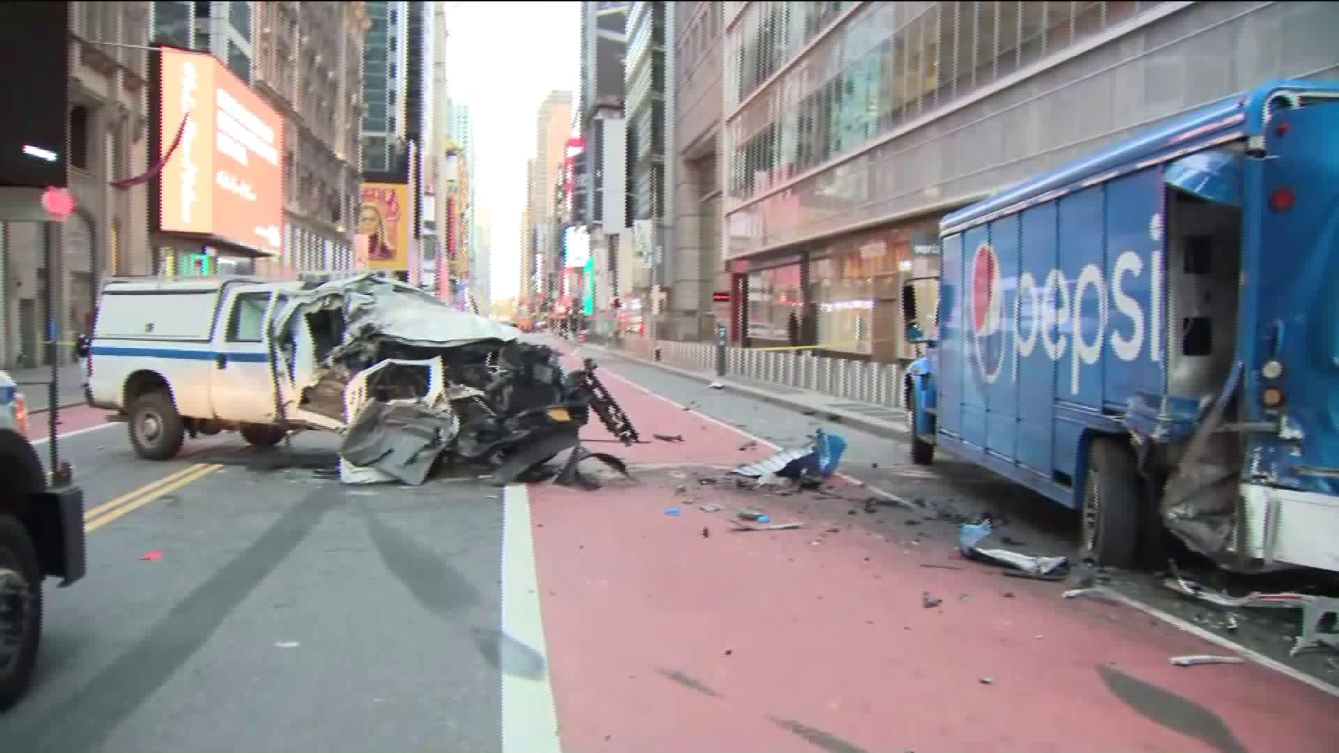 MTA truck crashes into Pepsi delivery truck near Times Square
