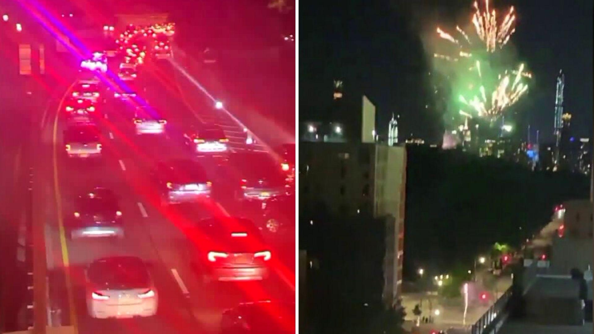 Fireworks protest outside Mayor Bill de Blasio's Gracie Mansion on Upper East Side