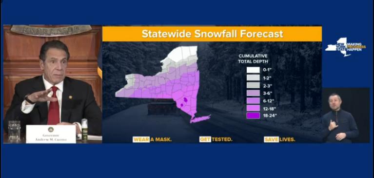 snow totals prediction new york ny cuomo