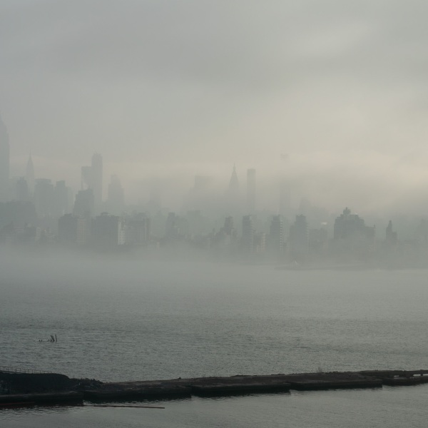 NYC skyline covered by fog