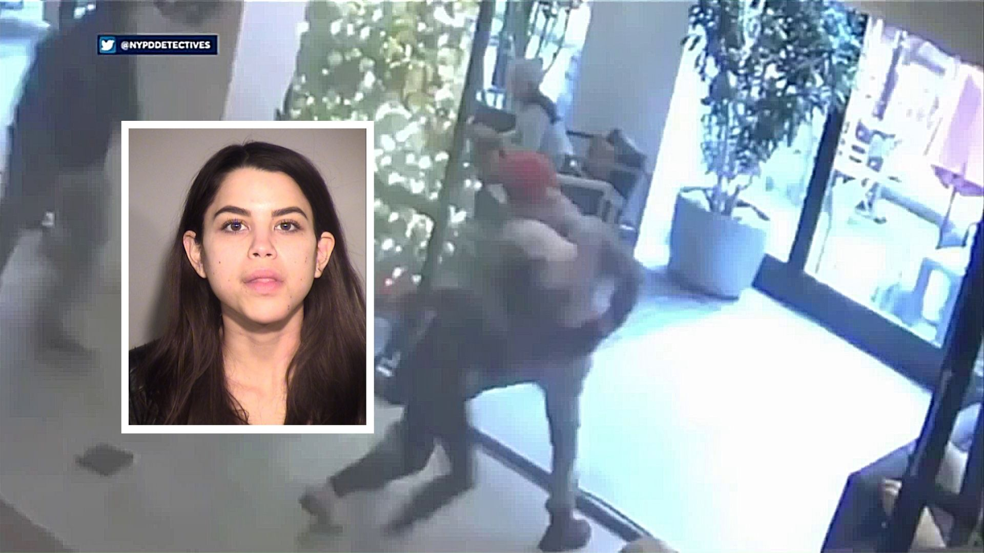 Photo of Miya Ponsetto overlaid on a surveillance photo of Ponsetto tackling a Black teenager who she falsely accused of stealing her phone