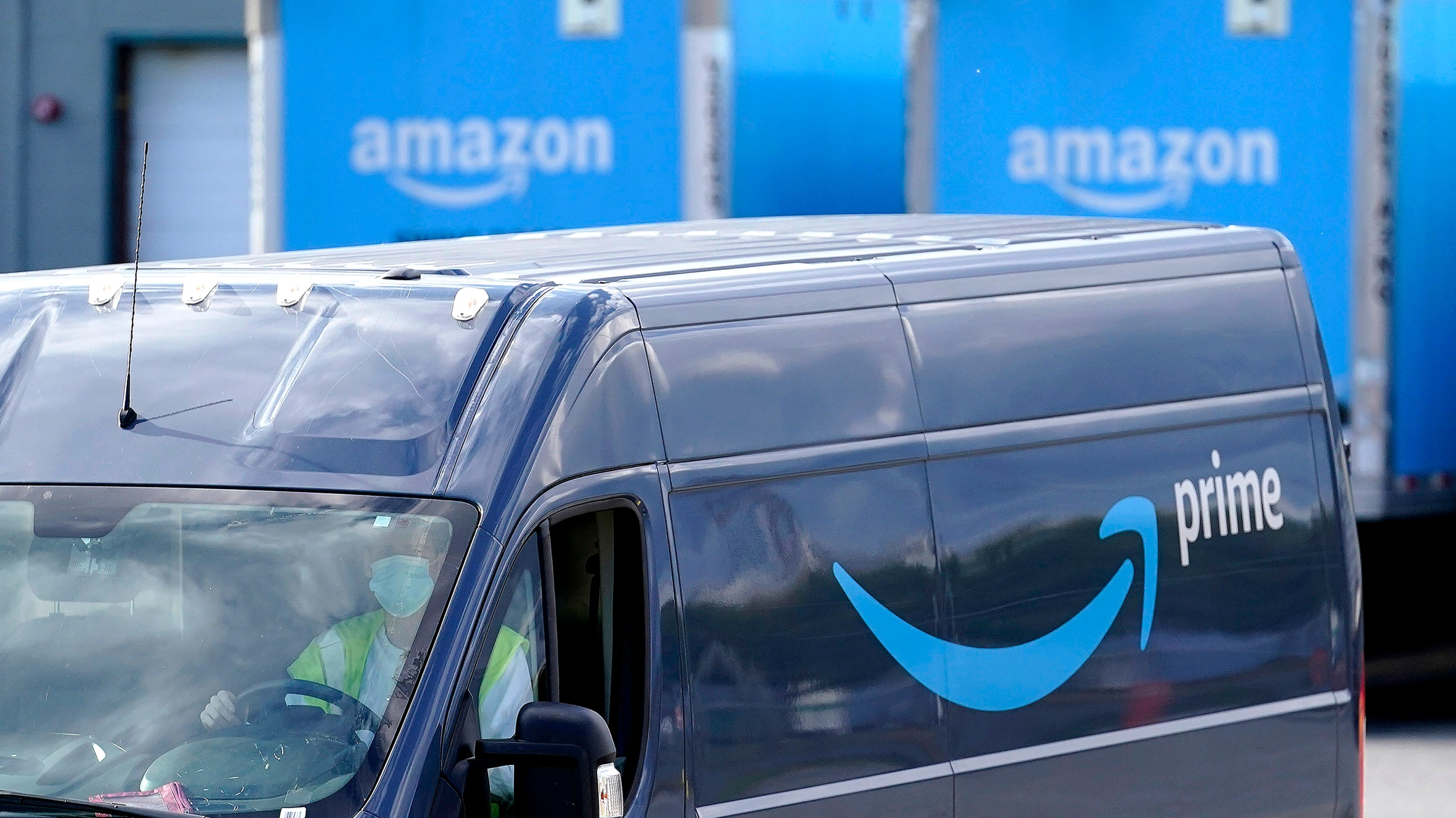 An Amazon Prime delivery van