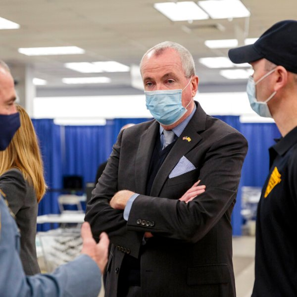 New Jersey Gov. Phil Murphy attends the opening of the Morris County vaccination site in Rockaway on Jan. 8, 2021.