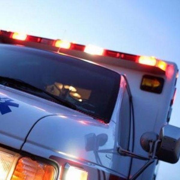 An ambulance is shown