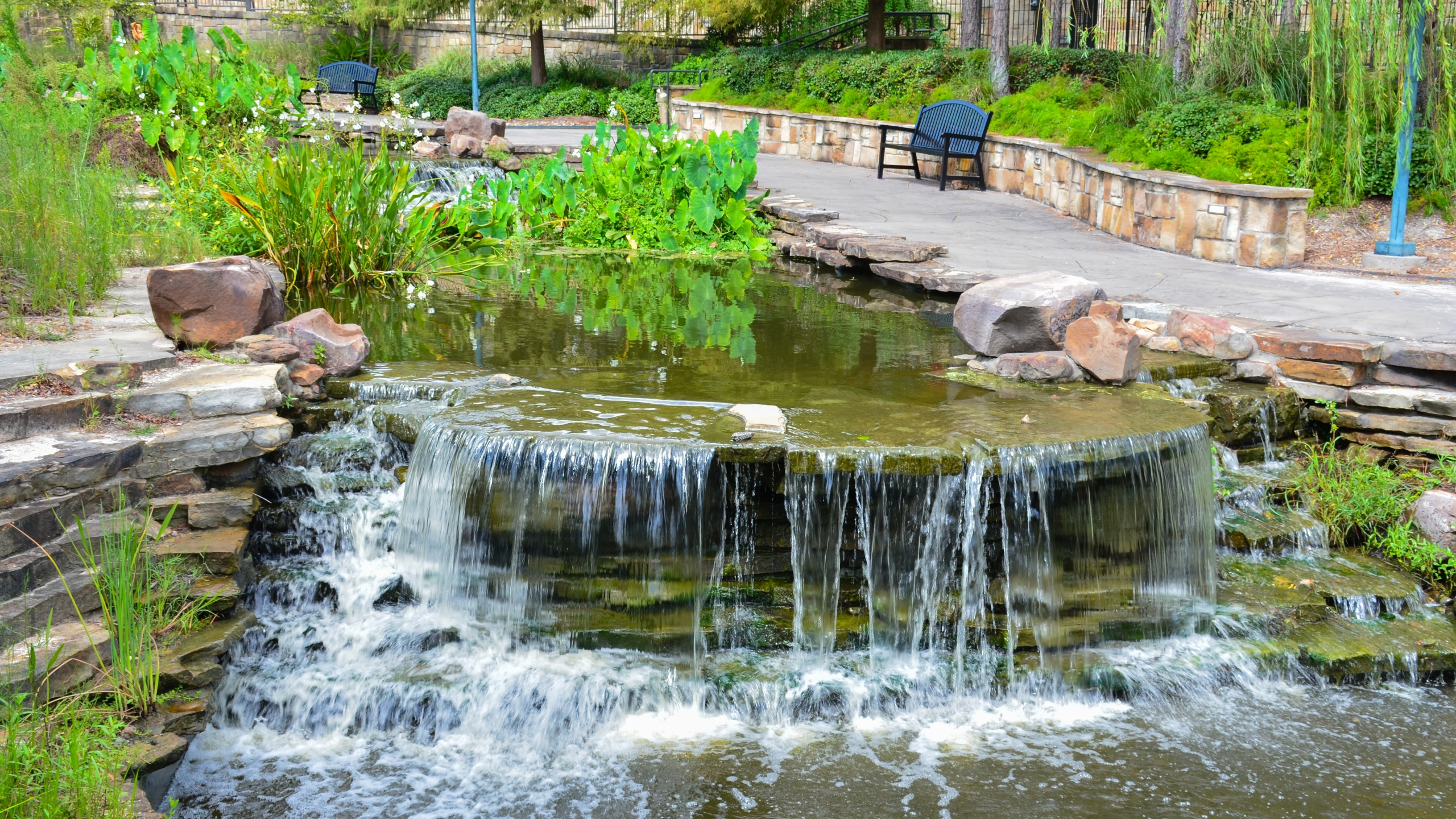 Lake Woodlands Waterway at The Woodlands, Texas, USA. August 2020