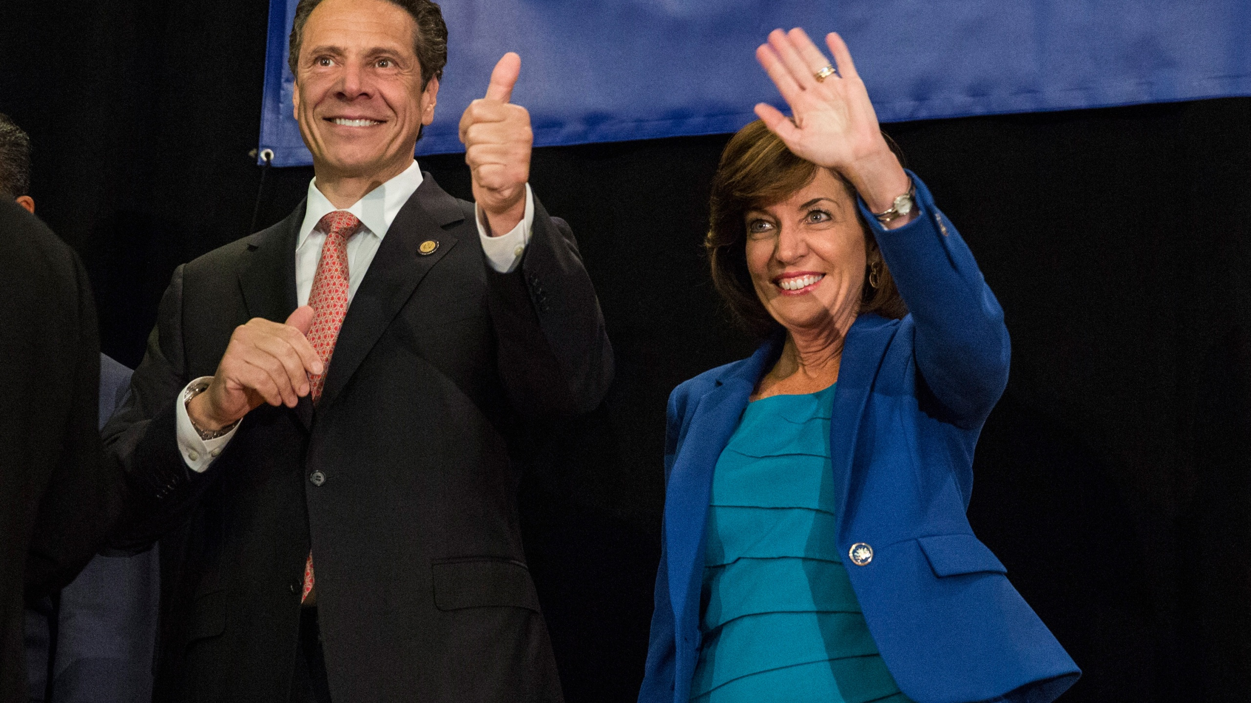 New York Governor Andrew Cuomo (L) and his choice for Lieutenant Governor Kathy Hochul, campaign together at the Hotel Trade Council during a reelection campaign event on September 8, 2014 in New York City. (Andrew Burton/Getty Images)