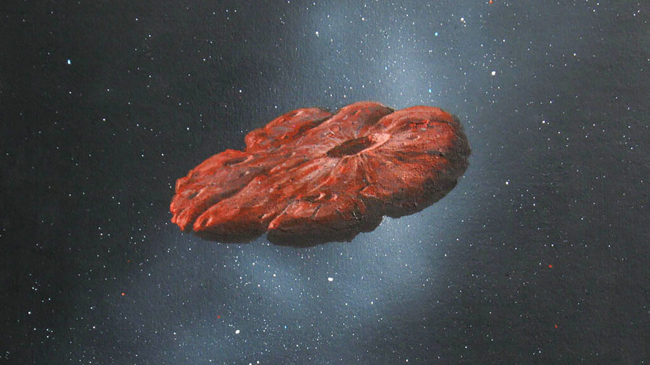 Depiction of the Oumuamua interstellar object