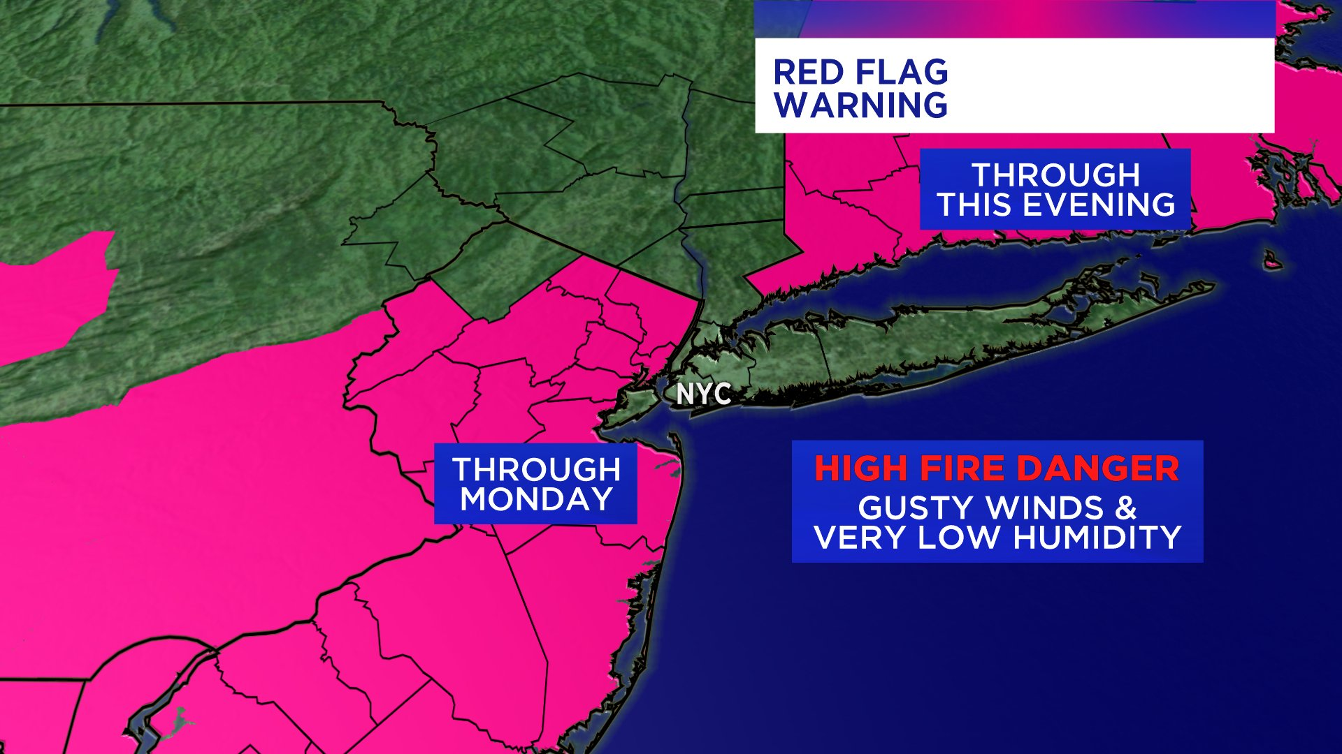 A map shows areas under a red flag warning in New Jersey