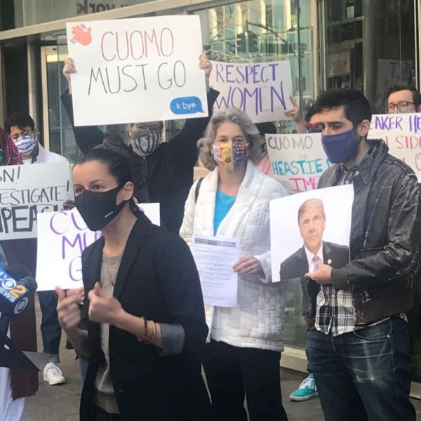 Demonstrators call for Gov. Andrew Cuomo's resignation outside of his Manhattan office