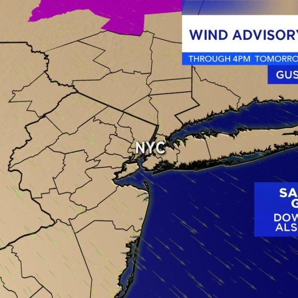 Map shows wind advisory for New York, New Jersey