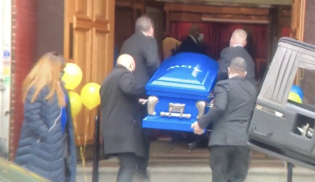 A casket carrying the body of Ayden Wolfe, 10, is brought inside a Bronx church ahead of the boy's funeral on March 16, 2021