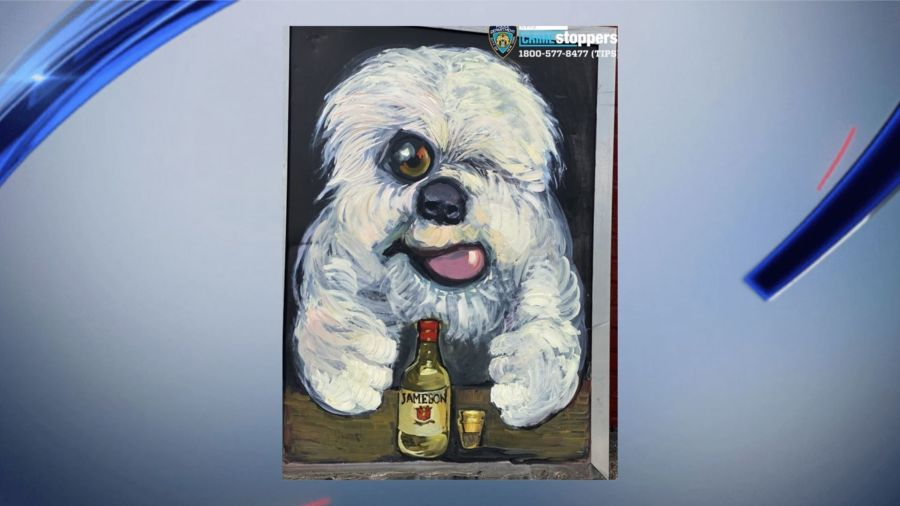 Hand-painted portrait of a dog stolen from Bronx bar Alfie's Place on 177th Street, police say.
