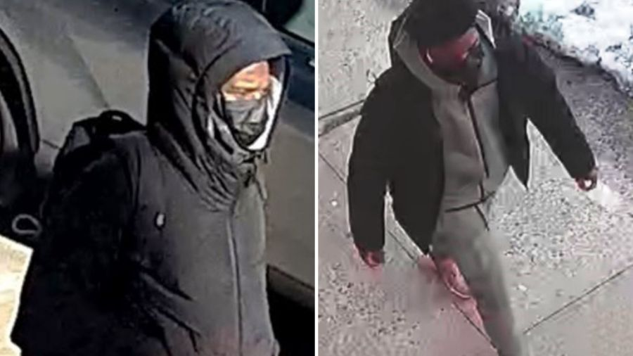 Surveillance images of a man wanted for stabbing a 15-year-old boy during a fight on a Bronx street on Feb. 24, 2021, according to police. (NYPD)