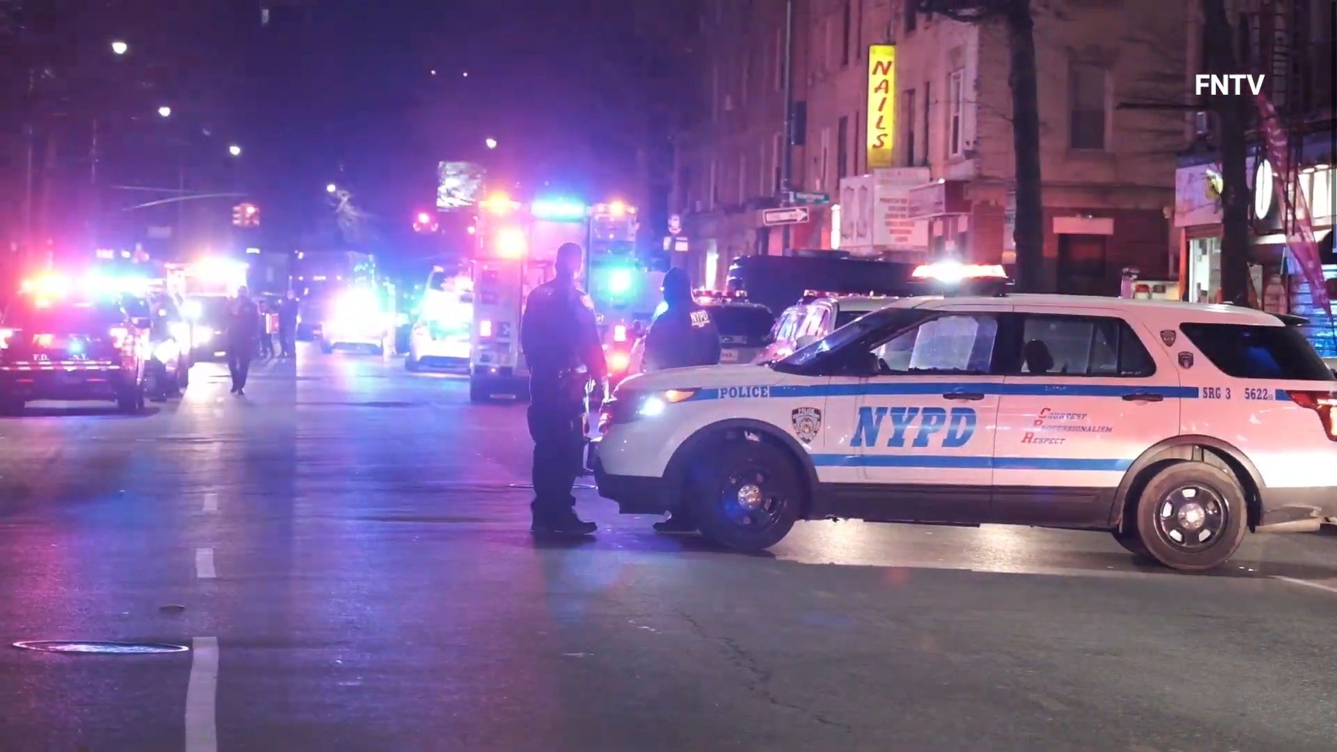 Police and emergency units on the scene in Brooklyn after a gunman opened fire on cops, injuring two officers Sunday night, March 7, 2021, according to the NYPD. (PIX11 News via FNTV)