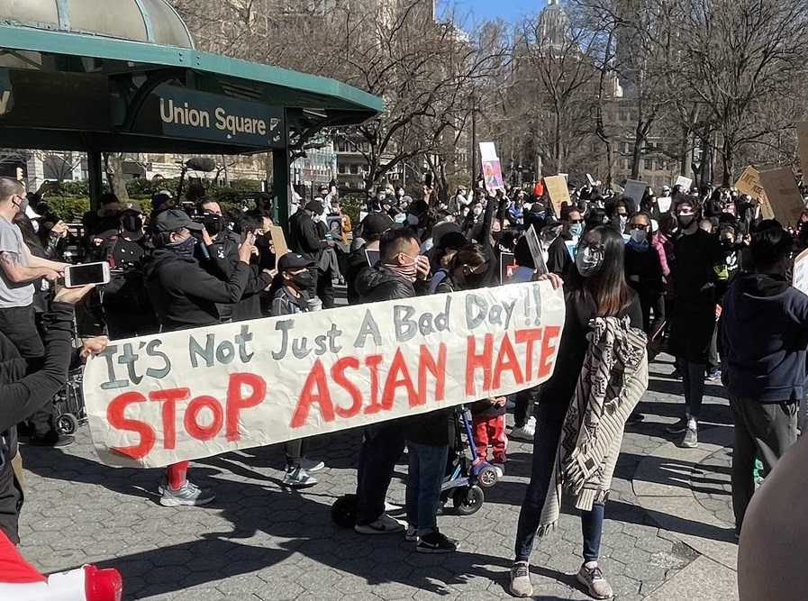 Demonstrators take part in the Black & Asian Solidarity rally in Union Square on March 21, 2021.