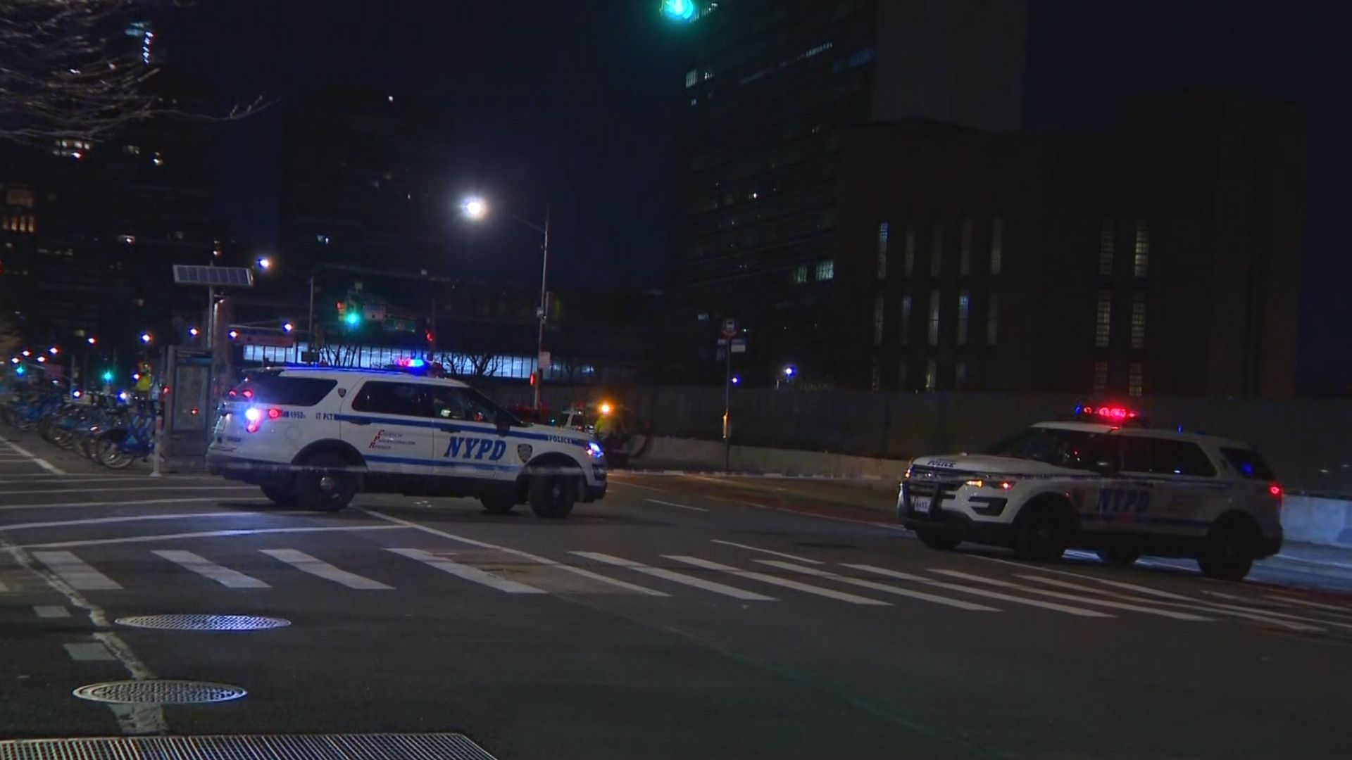 Police on the scene on Manhattan's east side after a man was fatally struck by a hit-and-run driver late Thursday night.