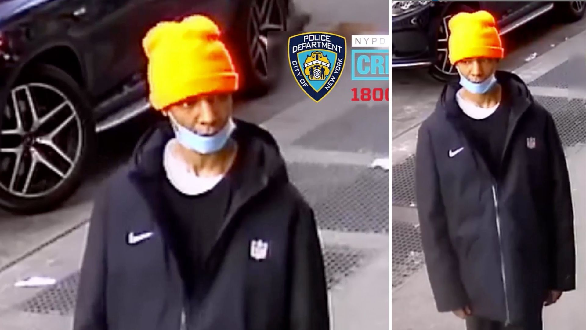 Surveillance images of a man wanted in connection with an attempted rape in East Harlem on March 10, 2021, police say. (NYPD)