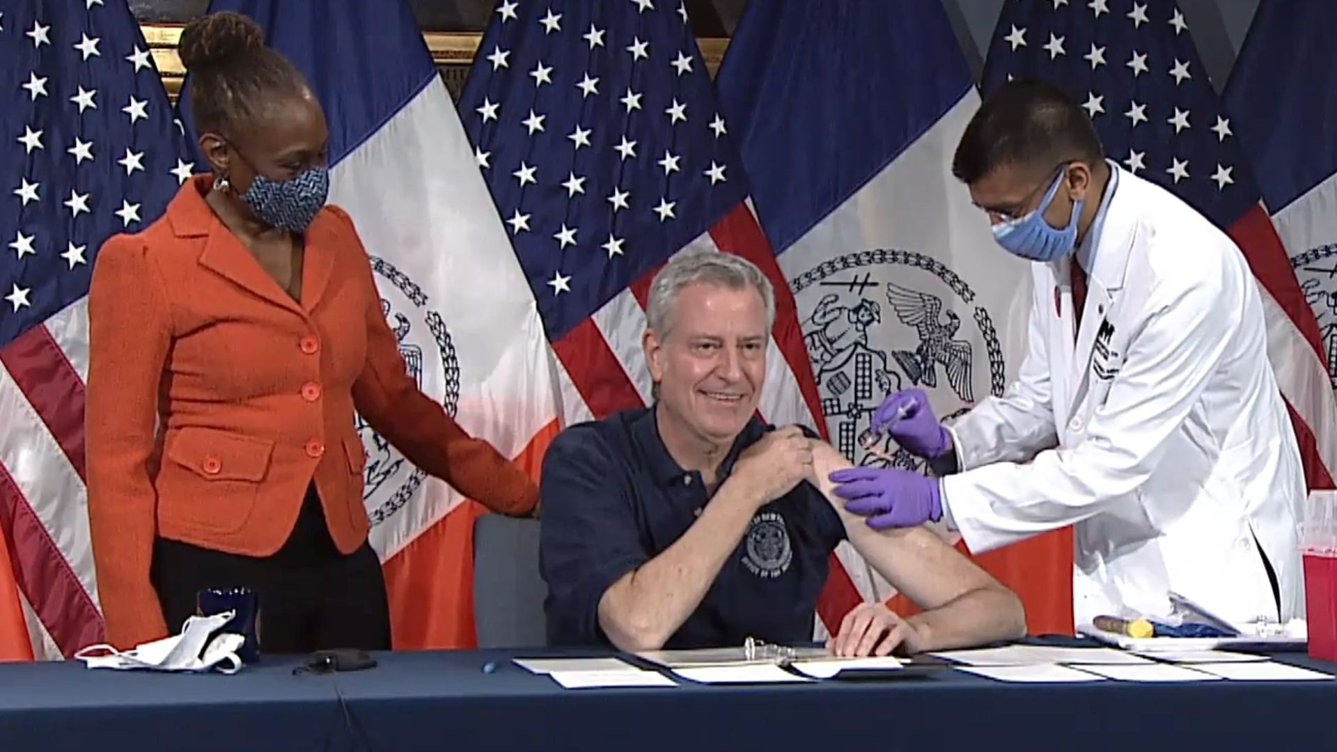 Mayor Bill de Blasio receives the Johnson & Johnson COVID-19 vaccine on March 18, 2021.