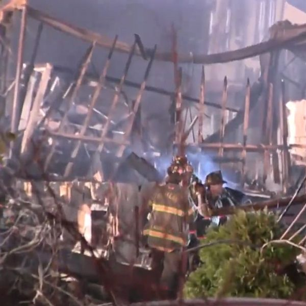 Firefighters searching for a missing firefighter after a massive, deadly blaze at a Spring Valley senior home on Tuesday, March 23, 2021 in Rockland County. (PIX11 News)