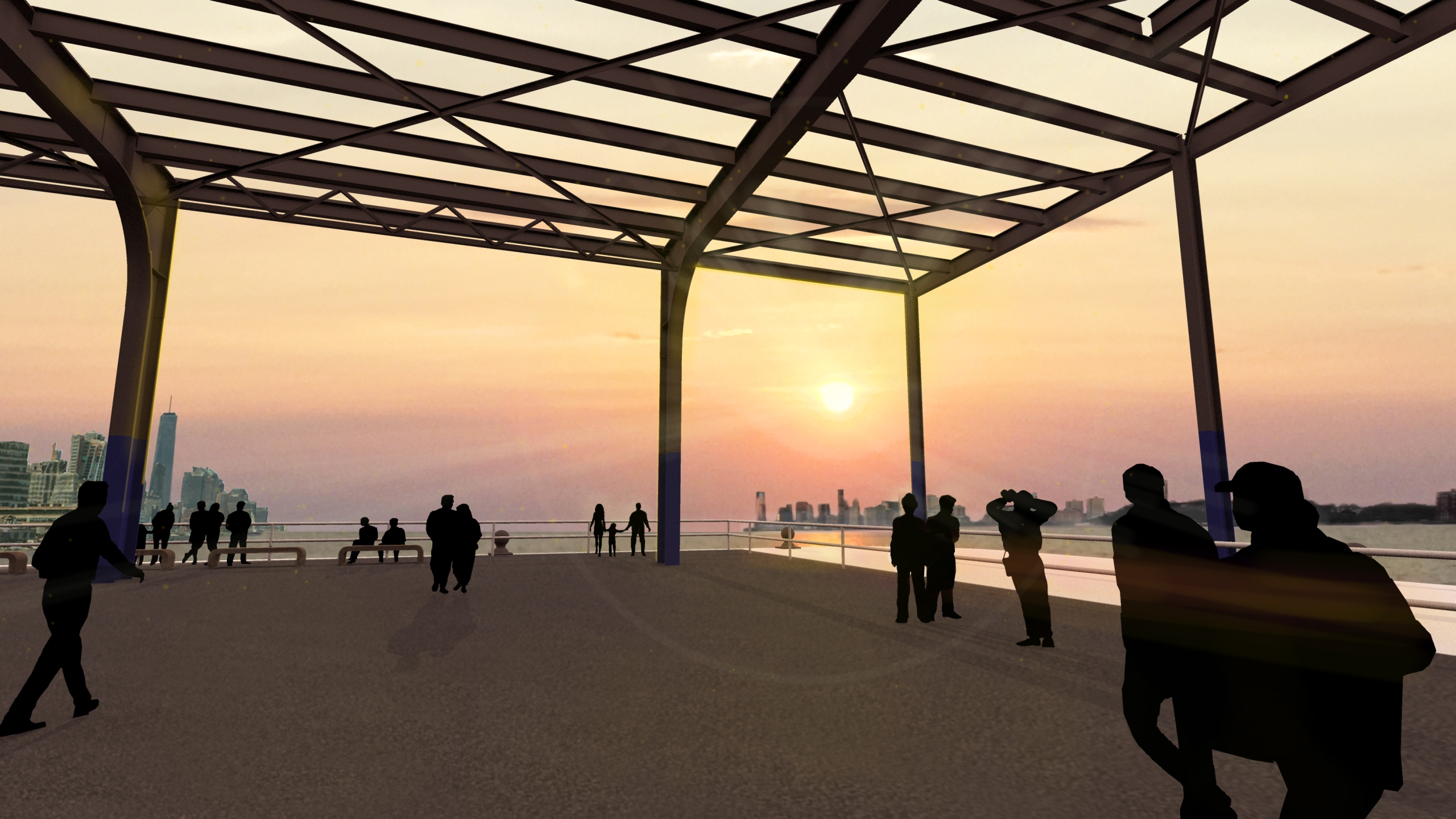 Rendering showing people admiring a sunset inside a park planned for Pier 76 on Manhattan's West Side
