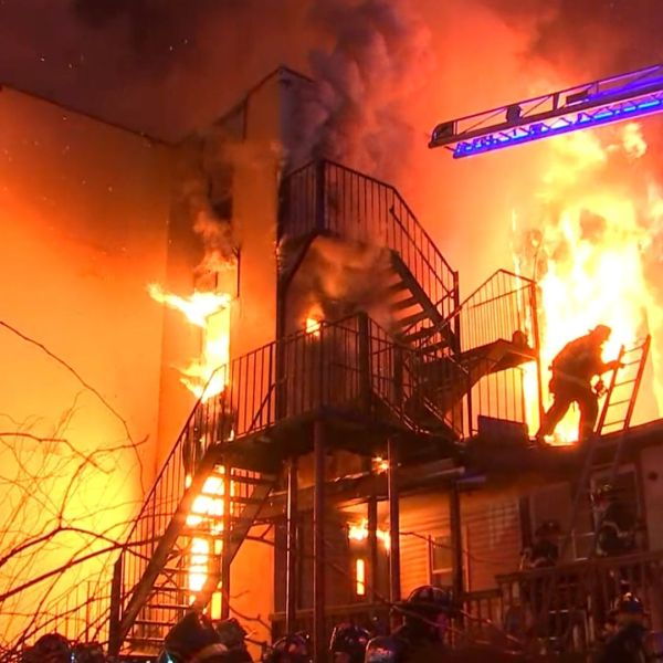 Firefighters on the scene of a massive fire that tore through a senior living facility in Spring Valley, Rockland County, early Tuesday, March 23, 2021. (PIX11 News via Rockland Video Productions)