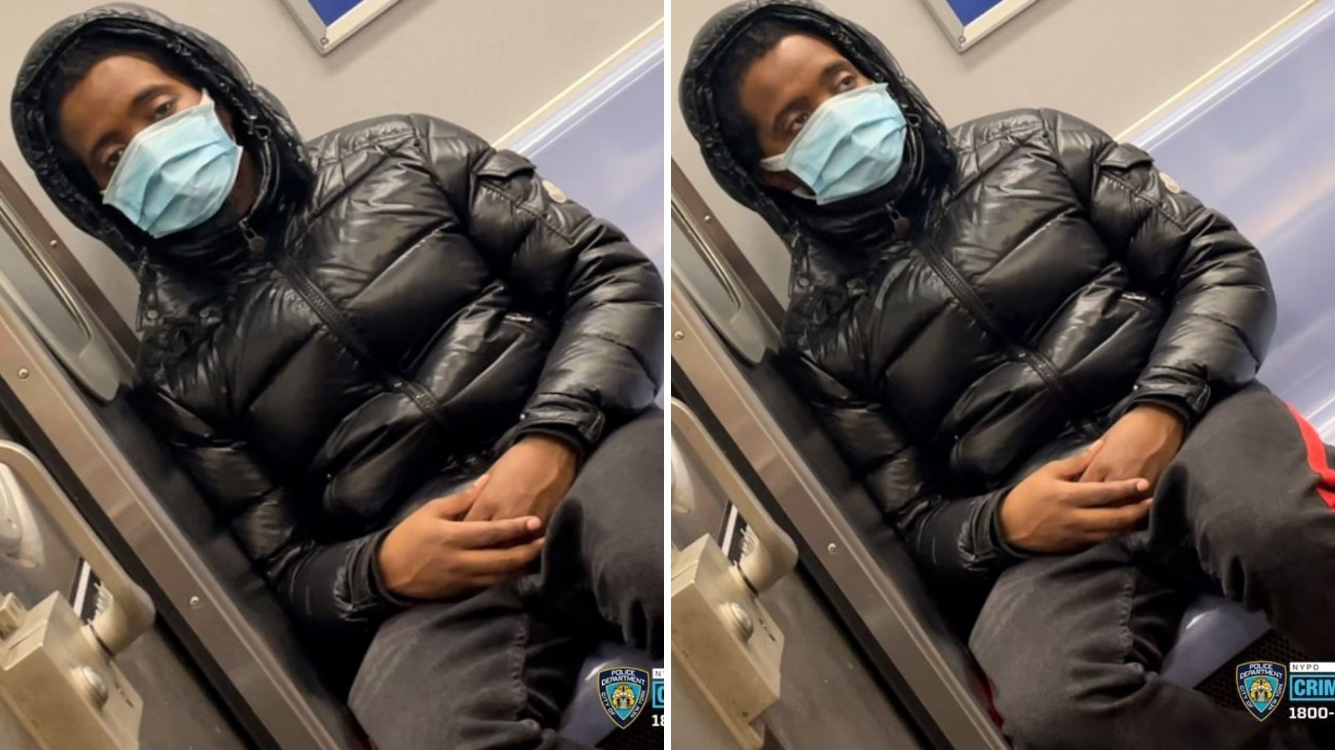 Images of a man accused of exposing himself and masturbating on a Brooklyn subway train on March 20, 2021, according to police. (NYPD)
