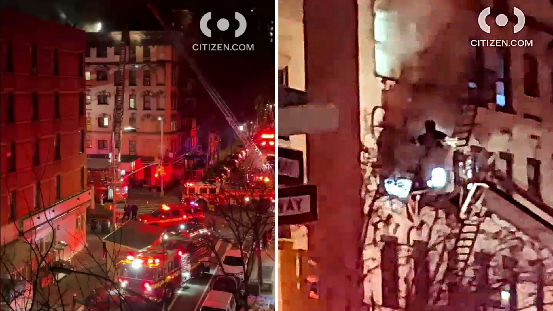 Firefighters respond to fire in an Upper East Side apartment near East 78th Street and Second Avenue that left three injured early Tuesday, March 16, 2021, according to the FDNY. (Citizen App)