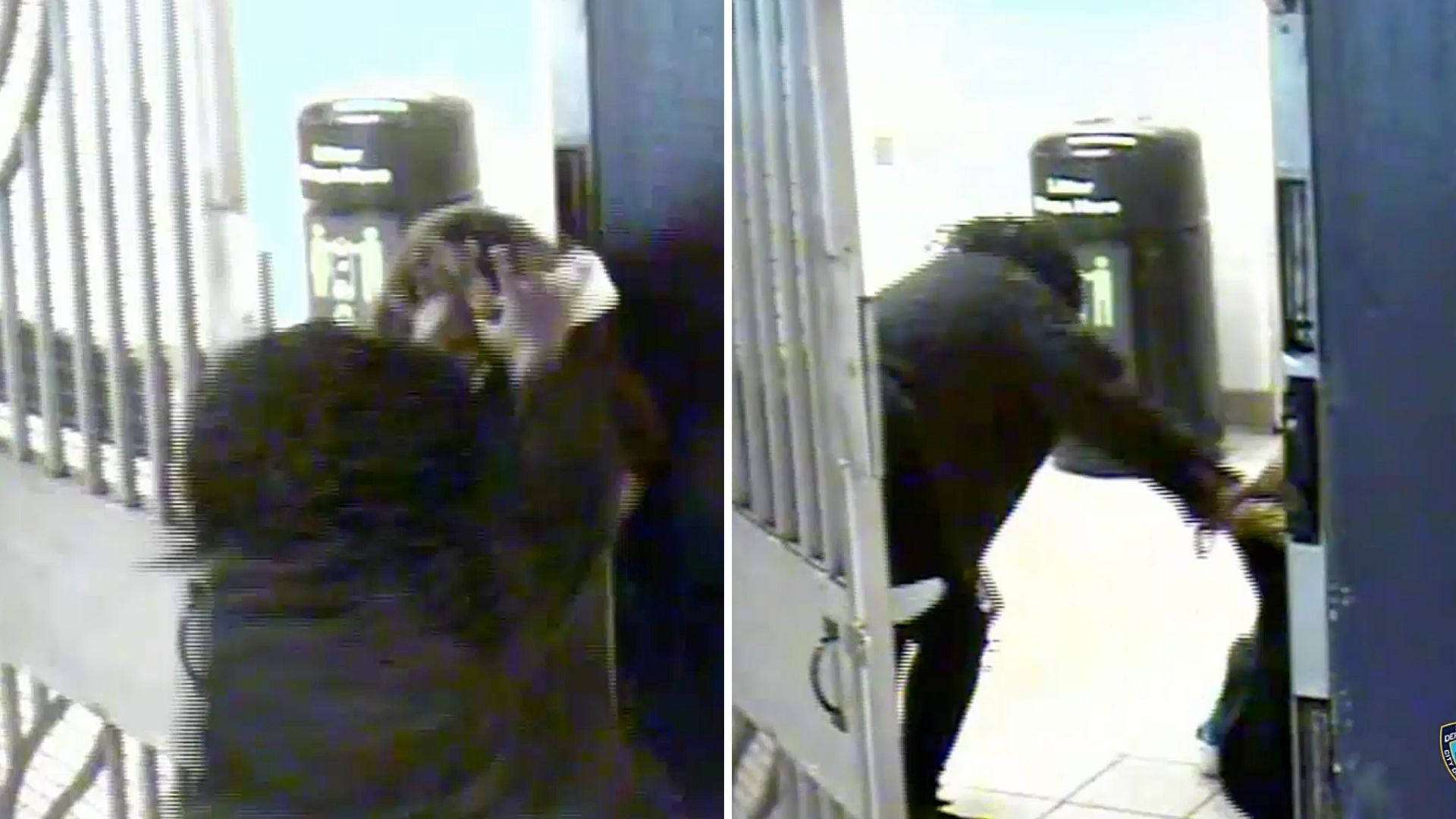 Surveillance images of a women being thrown to the ground and robbed by a woman and man inside the Queens Plaza subway station on March 13, 2021, according to police. (NYPD)