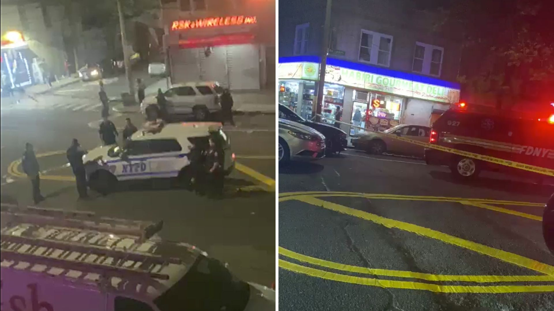 Police on the scene after two men were shot in South Ozone Park, Queens late Wednesday night, April 28, 2021, according to the NYPD. (Citizen App)