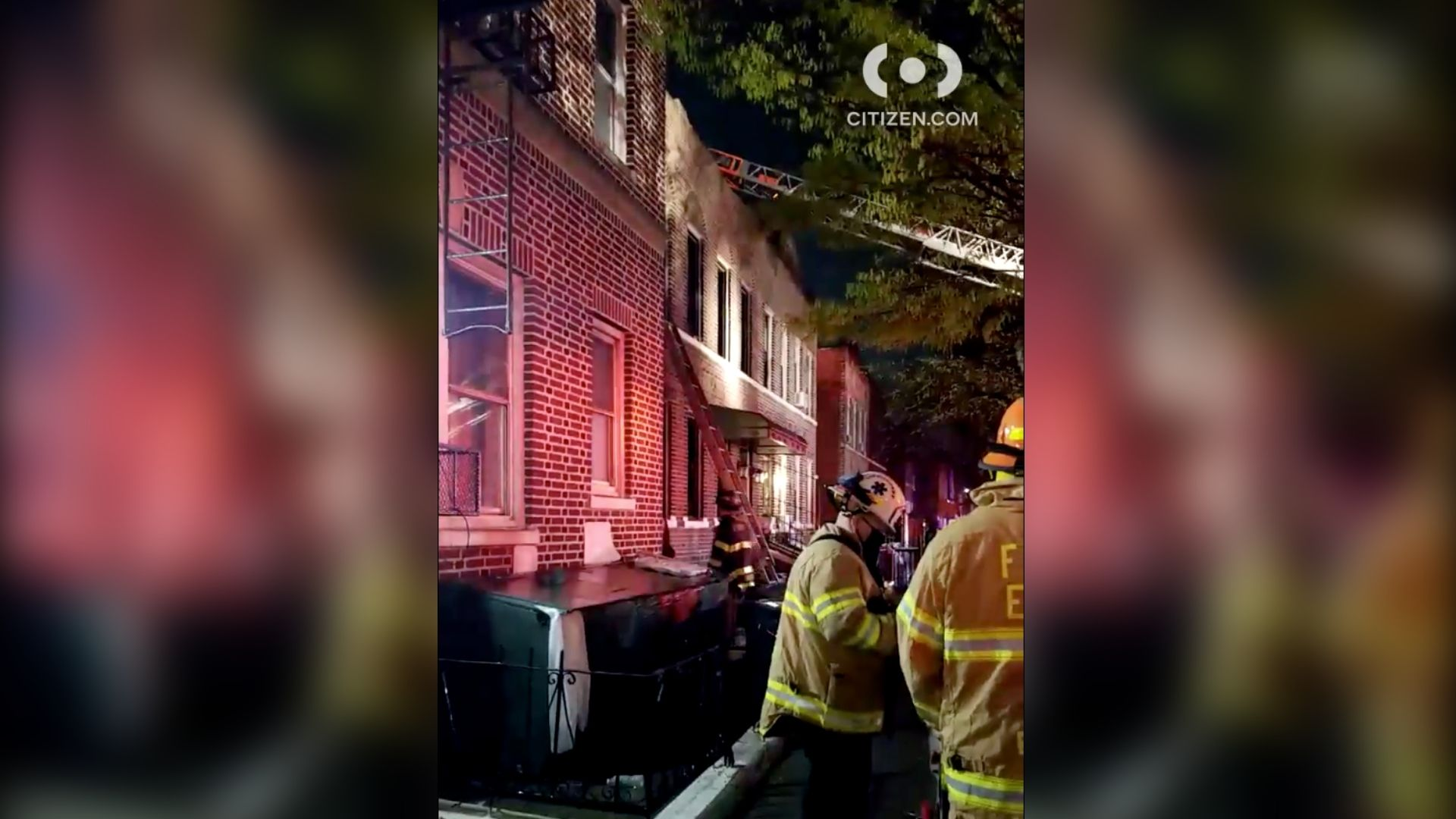 Firefighters operating at an apartment fire on Schenectady Avenue in the East Flatbush section of Brooklyn early Monday, April 12, 2021 that left three people hurt, according to the FDNY. (Citizen App)