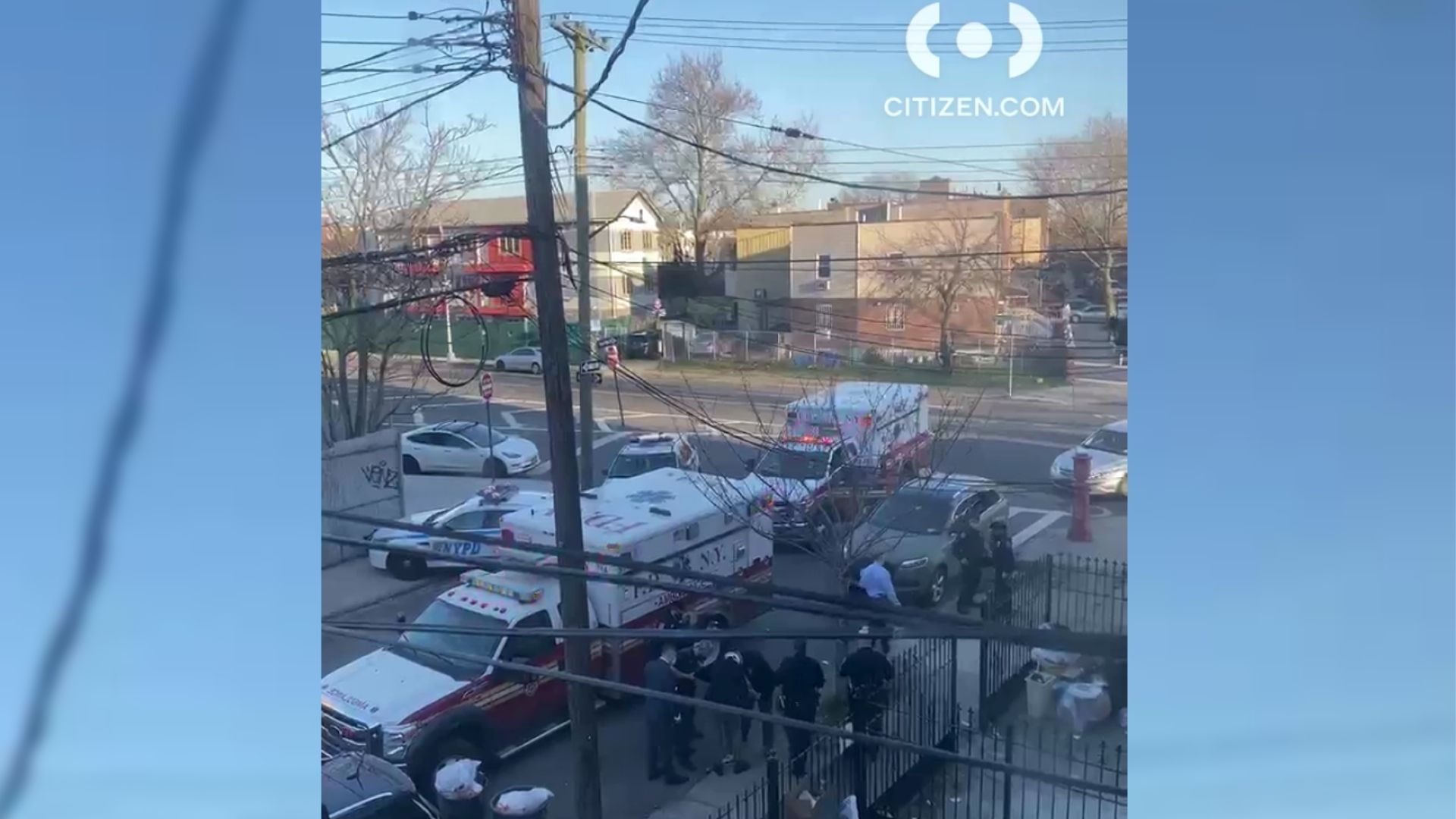 Police and ambulances on the scene after a 5-year-old girl was grazed in the head by a stray bullet near New Lots Avenue and Montauk Avenue in East New York, Brooklyn on Monday, April 5, 2021, according to police. (Citizen App)